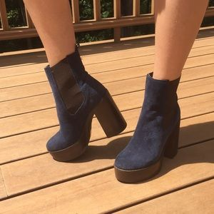 Zara size 37 blue suede platform booties